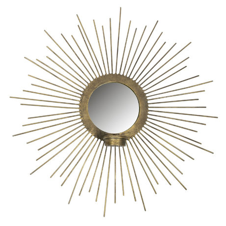 BePureHome Mirror with tealight holder Sunny gold metal Ø45cm