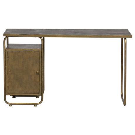 BePureHome Veteran desk antique gold metal 130x50x75cm