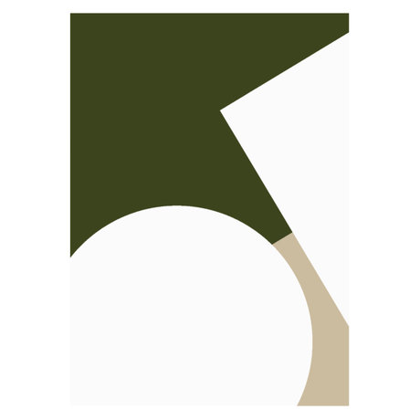 Paper Collective Affiche Simple Forms III papier beige vert blanc 50x70cm