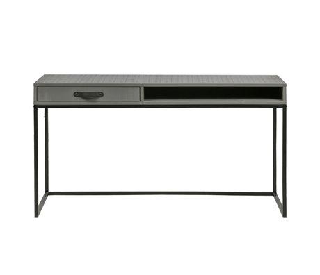 WOOOD Bureau Morris leem grijs zwart grenen 130x58x75cm