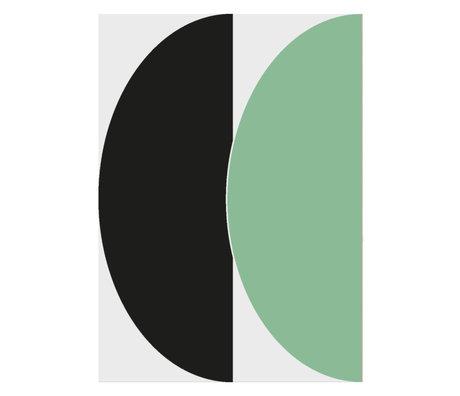 Paper Collective Poster Half Circles III - Green/Blue groen blauw papier 50x70cm