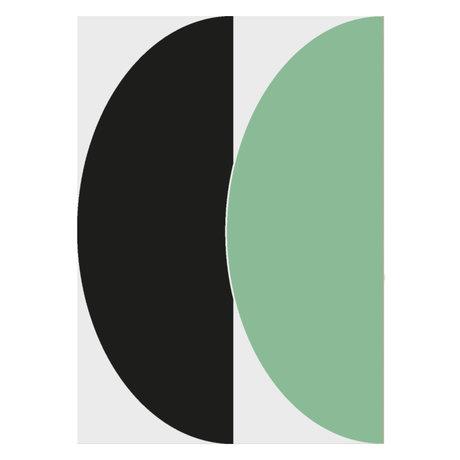 Paper Collective Affiche Half Circles III - Papier vert / bleu vert bleu 50x70cm