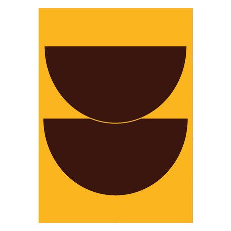 Paper Collective Affiche Half Circles II - Papier jaune jaune 50x70cm