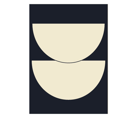 Paper Collective Poster Half Circles I - Blue donker blauw beige 50x70cm