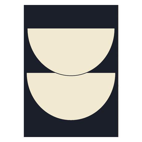 Paper Collective Affiche Half Circles I - Bleu beige bleu foncé 50x70cm