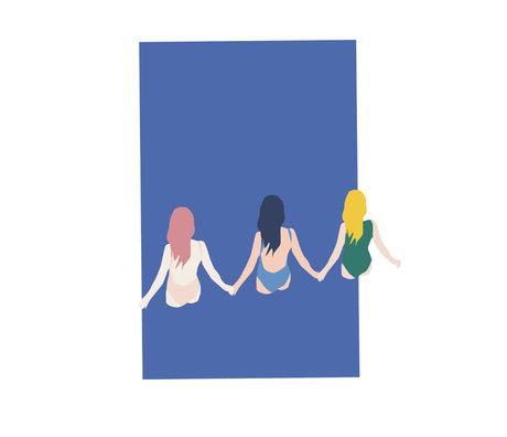 Paper Collective Poster Filles papier bleu 50x70cm