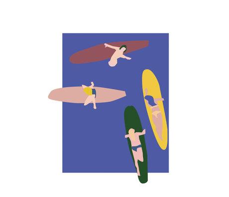 Paper Collective Poster Surfers blauw papier 50x70cm
