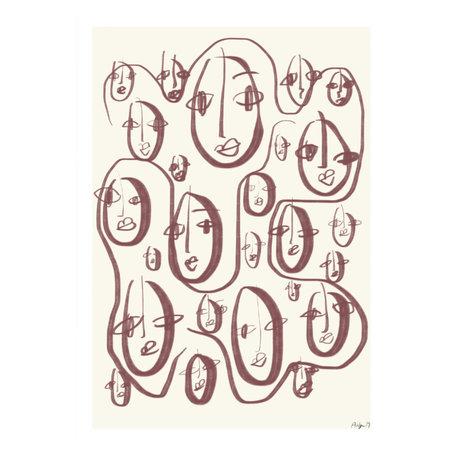 Paper Collective Affiche Random Faces papier beige 50x70cm