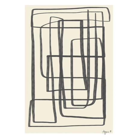 Paper Collective Affiche Different Ways II - Papier noir beige noir 50x70cm