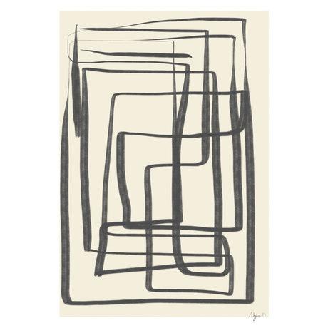 Paper Collective Affiche Different Ways I - Papier noir beige noir 50x70cm