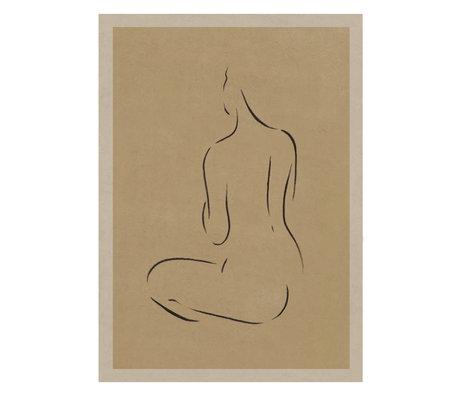 Paper Collective Grace III poster warm beige black paper 50x70cm