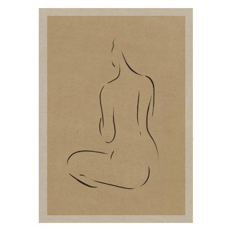 Paper Collective Poster Grace III warm beige zwart papier 50x70cm