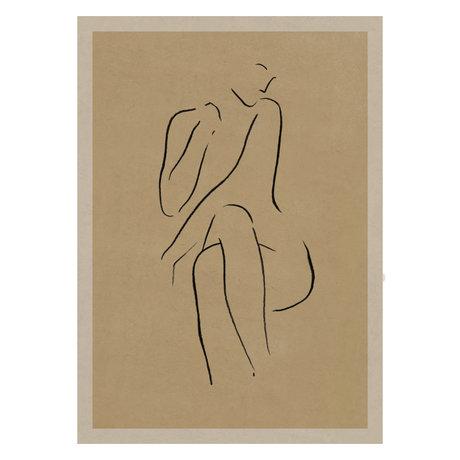 Paper Collective Affiche Grace I papier beige chaud noir 50x70cm
