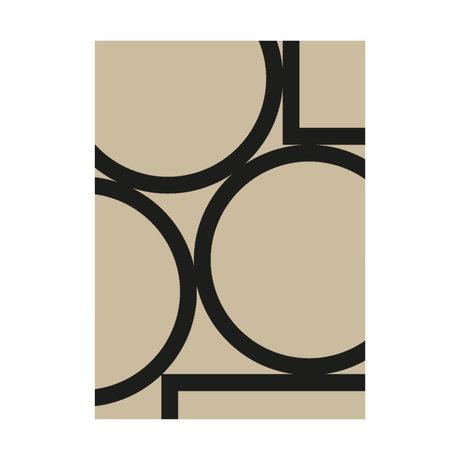 Paper Collective Affiche Simple Forms II papier beige noir 30x40cm