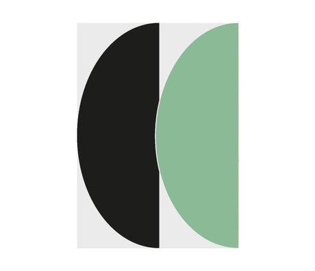 Paper Collective Affiche Half Circles III - Papier vert / bleu vert bleu 30x40cm