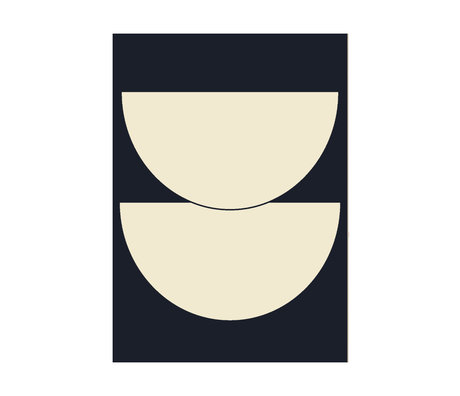 Paper Collective Poster Half Circles I - Blue donker blauw beige papier 30x40cm