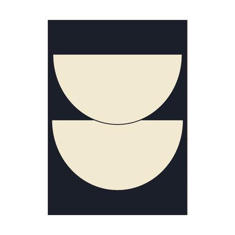 Paper Collective Affiche Half Circles I - Papier bleu bleu foncé beige 30x40cm