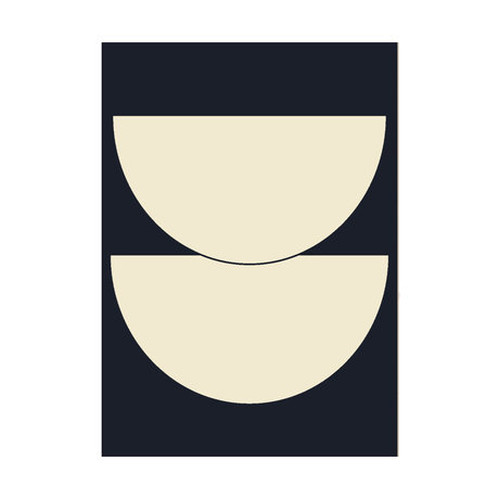 Paper Collective Poster Half Circles I - Blue dark blue beige paper 30x40cm
