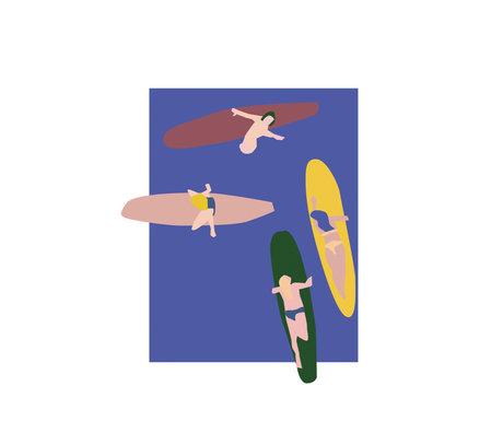 Paper Collective Poster Surfers blauw papier 30x40cm