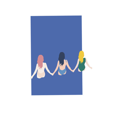 Paper Collective Poster Girls blauw papier 30x40cm