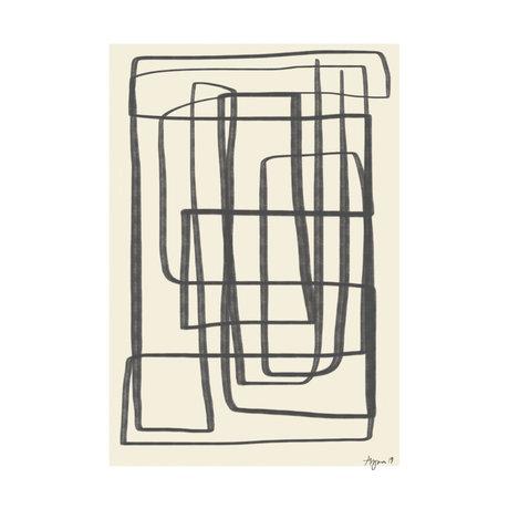 Paper Collective Affiche Different Ways II - Papier noir beige noir 30x40cm