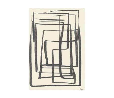 Paper Collective Affiche Different Ways I - Papier noir beige noir 30x40cm