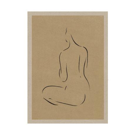 Paper Collective Poster Grace III warm beige zwart papier 30x40cm