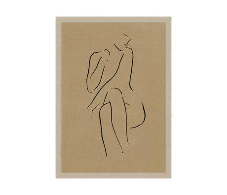 Paper Collective Affiche Grace I papier beige chaud noir 30x40cm