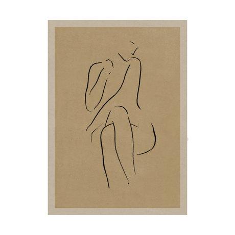 Paper Collective Poster Grace I warm beige zwart papier 30x40cm