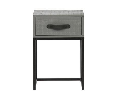 WOOOD Nachttisch Morris Ton grau schwarz Kiefer Metall 35x35x52cm