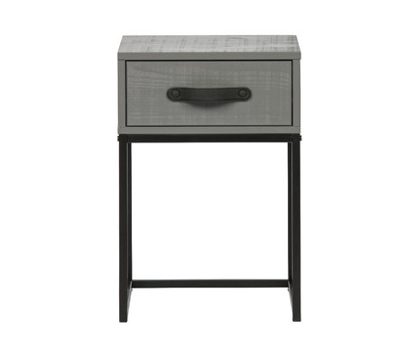WOOOD Table de chevet Morris argile gris pin noir métal 35x35x52cm