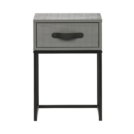 WOOOD Nachtkast Morris leem grijs zwart grenen metaal 35x35x52cm