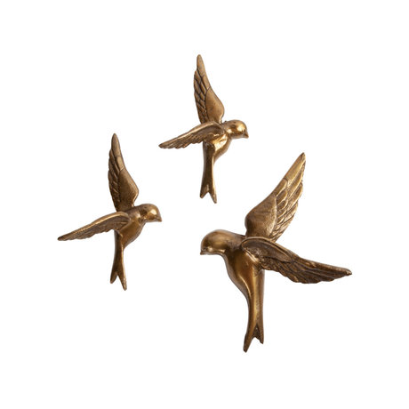 BePureHome Wall decoration Avaler gold metal set of 3