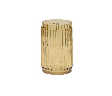 BePureHome Vaas Ridges geel glas 14x14x22cm