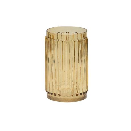 BePureHome Vase Ridges yellow glass 22x14x14cm