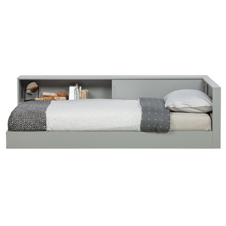 WOOOD Corner bed Connect concrete gray pine 213x118x60cm
