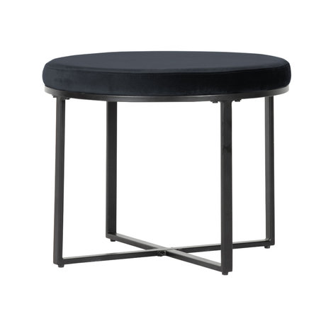 LEF collections Hocker Dewi black velvet Ø60x48cm