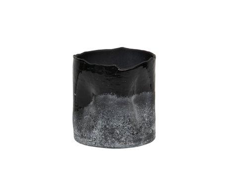 BePureHome Porte-cire Verre givré noir et blanc 10x10cm