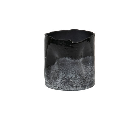 BePureHome Waxinehouder Frosted zwart wit glas 10x10cm