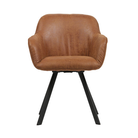 LEF collections Dining room chair Viggo cognac pu leather set of 2 58x60x81cm