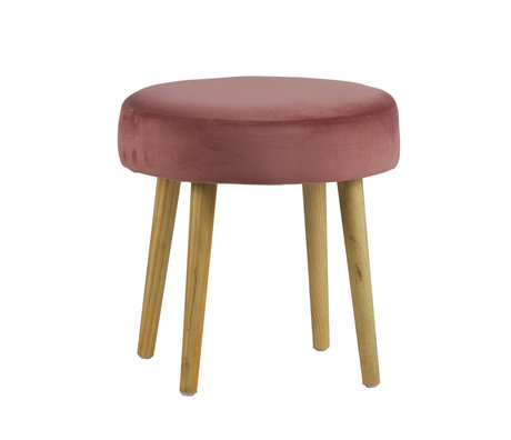 LEF collections Stool Moon pink velvet Ø40x40cm