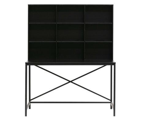 LEF collections Schreibtisch mit Fach Elwin schwarzes Holz 125x70x157cm