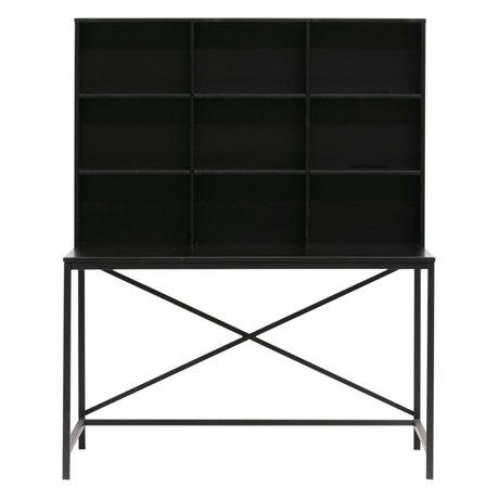 LEF collections Bureau avec compartiment Elwin bois noir 125x70x157cm