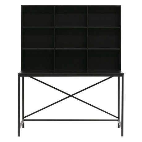 LEF collections Desk with compartment Elwin black wood 125x70x157cm