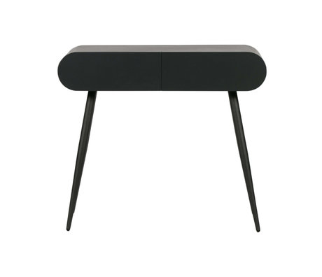 LEF collections Sidetable with drawers Flo black MDF 90x35x79cm