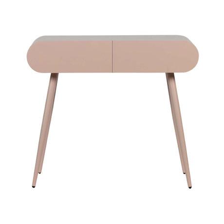 LEF collections Table d'appoint avec tiroirs Flo rose MDF 90x35x79cm