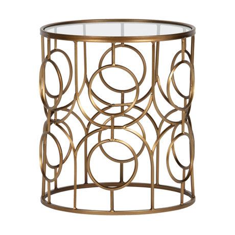 LEF collections Bijzettafel Naomi goud metaal glas Ø40x45cm