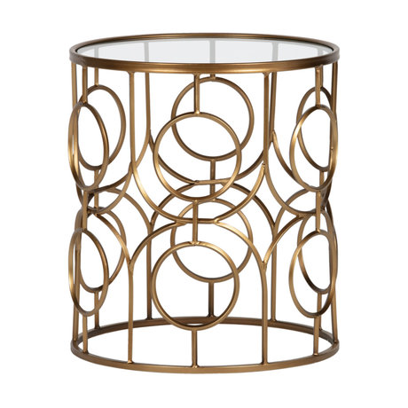 LEF collections Side table Naomi gold metal glass Ø40x45cm