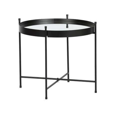 WOOOD Table d'appoint avec miroir Faris en métal noir Ø48x42cm