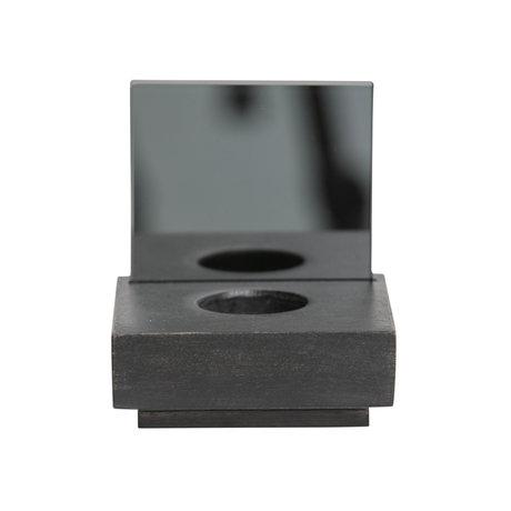 LEF collections Waxinehouder Janne zwart hout glas 11x11x12cm